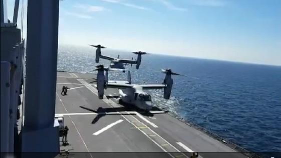 Vídeo: así aterrizan dos «Osprey» de los marines en el «Juan Carlos I»