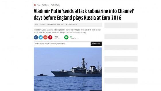El submarino de Putin que calienta la Eurocopa frente a la costa británica