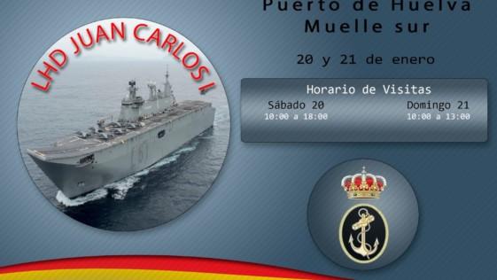 El portaaeronaves «Juan Carlos I» llega a Huelva, cuna del Descubrimiento