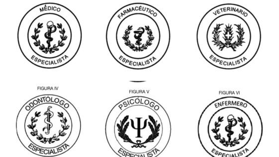 Distintivos para las seis especialidades de Sanidad