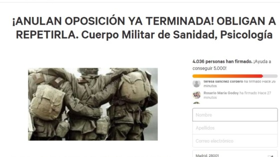 Recogen firmas ya que Defensa obliga a repetir una oposición concluida