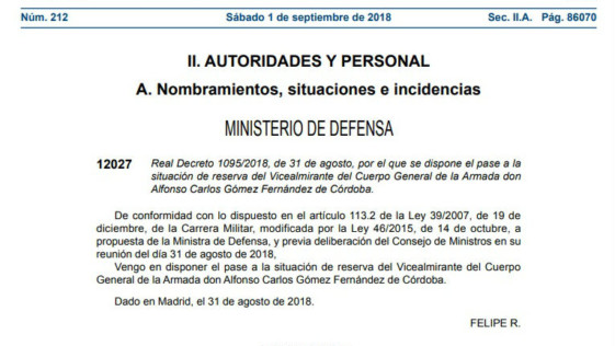 El Consejo de Ministros decidió el pase a la reserva del exsubdirector de Reclutamiento